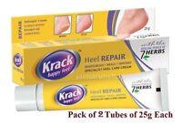 2x Krack Cream Foot heel Care Specialist cracked heels soles repair cream 25gm