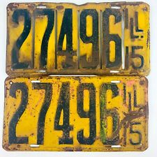 Illinois 1915 Antique License Plate Pair Slotted Front Yellow Vintage Man Cave