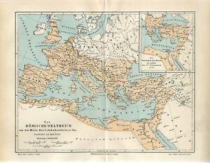 1895 ANCIENT ROME ROMAN EMPIRE 2 CENTURY AD Antique Map