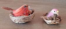 Vintage Bird Decor Red Feathers Nest Eggs Wood Berry Jar Gray Lot 3 Miniature