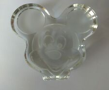 Vintage Disney Mickey Mouse Head Paperweight Clear Glass w/ sticker Authenticity