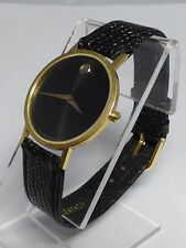 Movado 87-33-882 Men's Museum watch Gold Case Black Dial Leather Strap