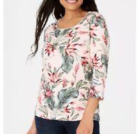 Karen Scott Womens XL Blush Pink Palm Revival 3/4 Sleeve Scoop TShirt Top NWT