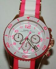 Marc By Marc Jacob Ladies Hot Pink & White Chronograph Date Watch MBM2593