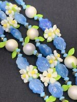 """1950S White Blue Green WOW Daisy Flower Link Beaded Strand Beaded Necklace 44"""""""
