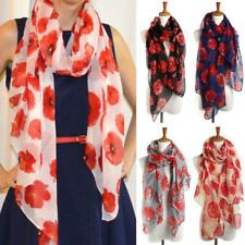 Women Ladies Poppy Print Floral Scarf Remembrance Day Poppies Scarves Wrap Shawl