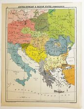 HISTORICAL MAP AUSTRIA HUNGARY BALKAN STATES ETHNOGRAPHICAL GERMANS SLAVS