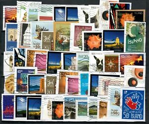 Iceland Lot of 50  new  Stamps 2000-2019 on Paper Kiloware.