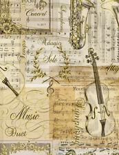 Fabric Timeless Treasures CM7307 Antique Metalic Musical Instruments