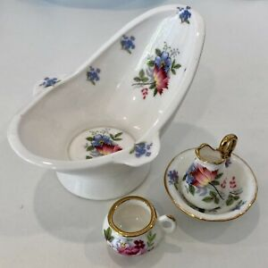 Dolls house miniature 1:12 porcelain jug, bowl, bath + chamber pot by MACK