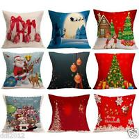 New Cute XMAS Deer Santa Claus Pattern Pillow Case Cushion Cover Sofa Home Decor