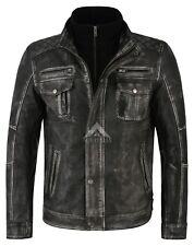 Men's Leather jacket Distress Old Look Vintage Black Biker Style Lambskin 1501