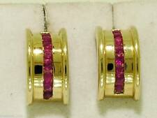 E030-> WIDE Genuine 9ct Solid Gold,NATURAL RUBY Half HOOP Earrings Channel set