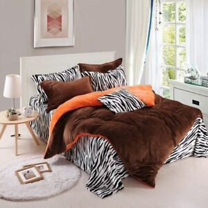Zebra Stripe Fleece Warm Bedding Set Flannel Fleece Duvet Cover 4pcs Bedclothes