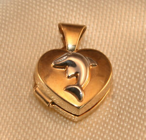 100% Genuine 9k Solid Yellow Gold Small Dolphin Photo Pendant