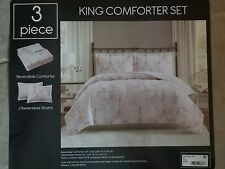 3 Piece Reversible Paris Print Theme King Comforter Set - New Lowered Price!