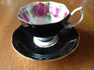 ROYAL ALBERT BLACK OLD ENGLISH ROSE  CUP & SAUCER GOOD CONDITION