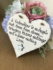 Godmother Gift Christening Thank You Shabby Chic Heart Wooden Plaque
