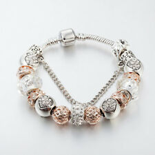 14K Champagne gold crystal heart One a kind European & Pandora Charms Bracelet