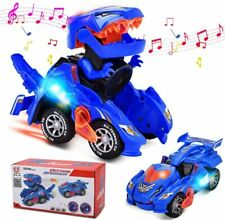 Transforming Dinosaur LED Car With Light Sound Kids Toy Car Robots Electric Gift