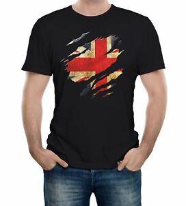 Torn Union Jack Flag T-Shirt - Funny t shirt country British retro fashion sport