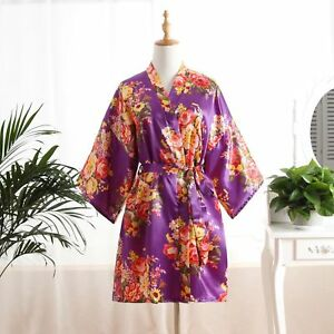 Floral Satin Bridesmaid Robes Gowns Bride Bath Robe Wedding Kimono Robes 2020