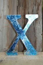 MEDIUM VINTAGE STYLE 3D BLUE X SHOP SIGN LETTER TIN WALL ART LETTER FONT 8 INCH