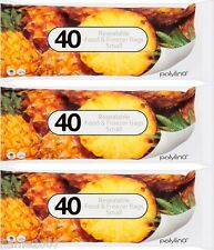 Polylina 3 Packs x 40 Resealable Food Freezer Bags 180 x 200mm Ziplock~Poly Lina