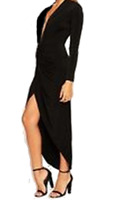 JOHN ZACK PLUNGE  V FRONT WRAP OVER   BLACK  MAXI DRESS