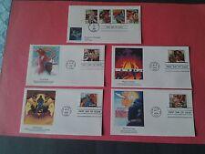 5 US Fleetwood Covers  Scott 2767 thru 70(1993) Broadway Bk Plate # 4 Singles