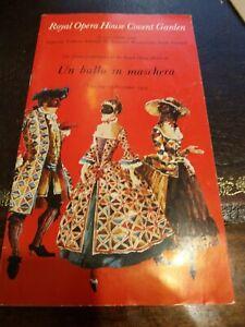 Royal Opera House Programme 162nd Un Ballo in Maschera Thursday 13 November1975