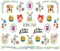Nail Art Water Decals Stickers Transfers Easter Bunny Rabbit Eggs Party BN1258