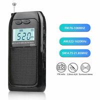 Digital FM AM SM Radio Mini Pocket Walkman Receiver Stereo w/ Earphones