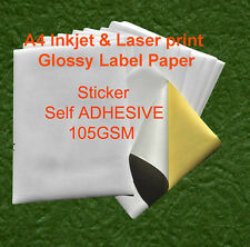 400 sheets A4 105GSM Inkjet and Laser Glossy Label Paper Sticker Adhesive