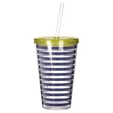Mimo Stripe Drinks Cup Stripe Design Bright And Breezy Nautical Look Clear Straw