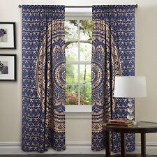 Indian Mandala Blue Gold Curtain Tapestry Hanging Window Treatment Door Valance