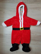 Christmas Baby Boy Little Santa Hooded Red Outfit Size 3-6 months (A2) pre-owned