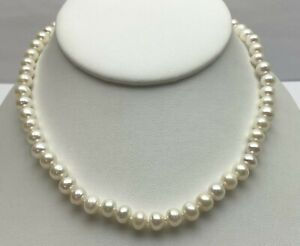 """14K WHITE GOLD 16"""" FRESHWATER PEARL NECKLACE 7MM PEARLS FILIGREE FISH CLASP"""