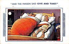 POSTCARD  COMIC   BAMFORTH   Bed  Give and  take  (  Large  Brown  Triangle )