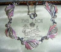SIGNED HOLLYWOOD VINTAGE Shaded Lilac Enamel and MARCASITE NECKLACE SPECIAL GIFT