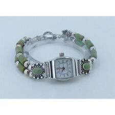 925 Sterling Silver Natural Green Kingman Turquoise Wristwatch Watch