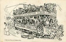PRINTED COMIC POSTCARD OF THE LAST TRAM CAR FROM DERBY, DERBYSHIRE