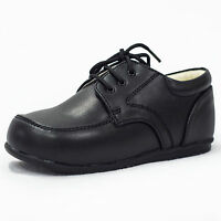 Baby Boys Formal Shoes Laces Matte Black Wedding PageBoy Christening Loafers