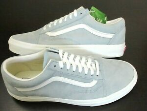 Vans Men's Old Skool Pig Suede Blue Fog True White shoes Water Repel Size 11.5