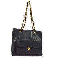 CHANEL Quilted CC Chain Shoulder Tote Bag Black Caviar Leather VTG AK35555j