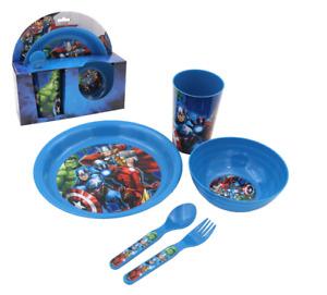 Marvel Avengers Breakfast Set Plate Bowl Cup Fork Spoon America Falcon Hulk Man