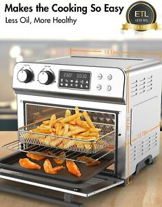 24 QT/6 Slices 10-in-1 Air Fryer Toaster Oven 1700W Oil less 150℉-450℉ ETL US