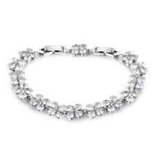 Butterfly Clover White Gold Filled Crystal Zircon Women Lady Bracelet Bangle BOX