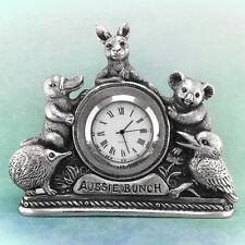 Aussie Bunch Souvenir Clock Australiana Gift Australian Made Pewter