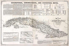Mapa de la isla de Cuba 1855 Vintage Repro MAP Print 24x36 Havana Cigar Island